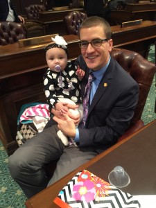 "State Rep. Aaron Miller and his daughter Jael on the House floor in January. Rep. Miller is introducing a resolution to declare Thursday as ""Take Our Daughters and Sons to Work Day."""