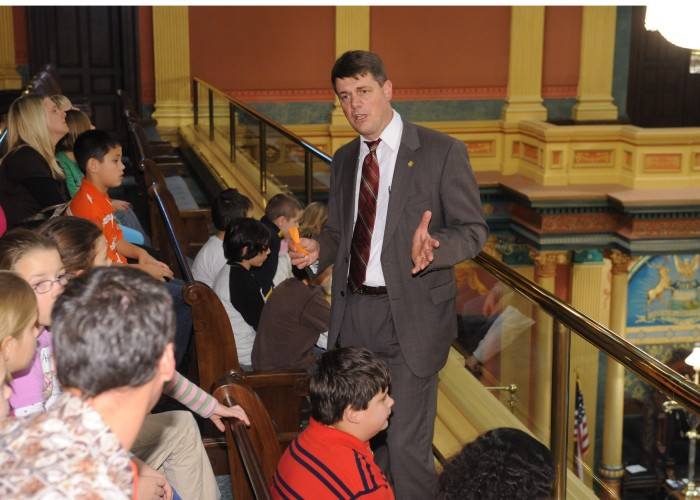 Chairman Haveman speaking to a school group visiting the Capitol.